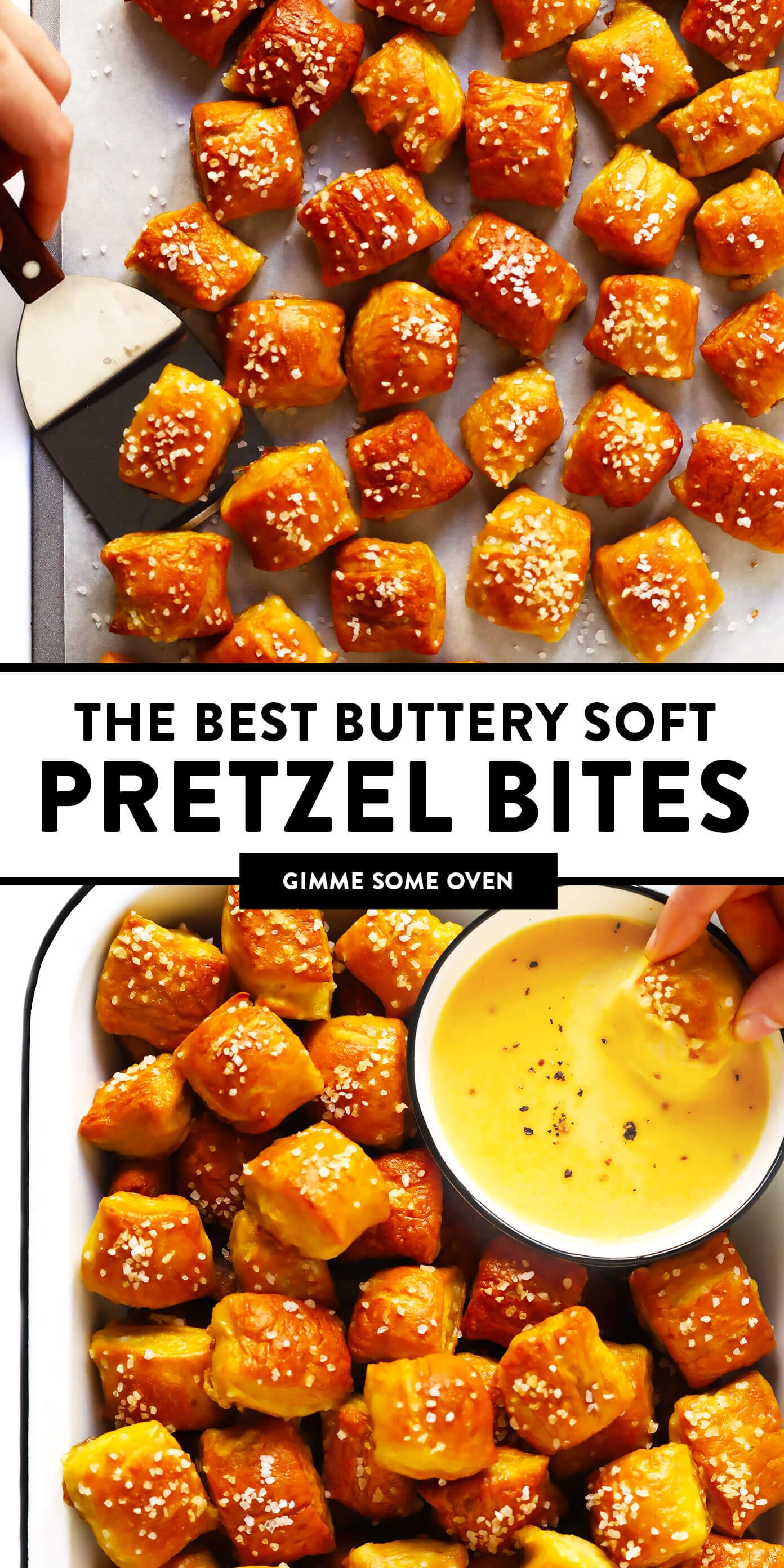 The BEST hot and buttery homemade soft pretzel bites recipe! Easy to make in just 1 hour, and customizable with any of your favorite toppings. | gimmesomeoven.com #pretzels #snack #gameday #appetizer #bread #vegetarian #vegan #homemade