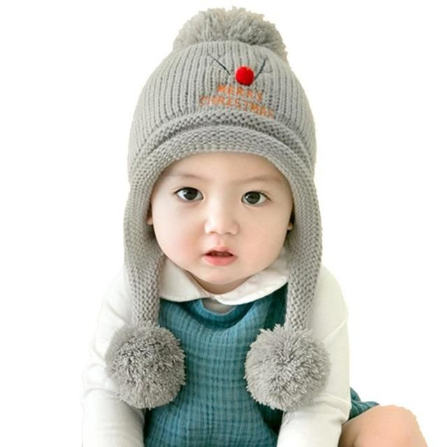 eeb1275d Cute Baby Winter Hats Warm Beanie Cap For Children Boys Girls Animal Kids Crochet  Knitted Hat With Ball Ear Flap