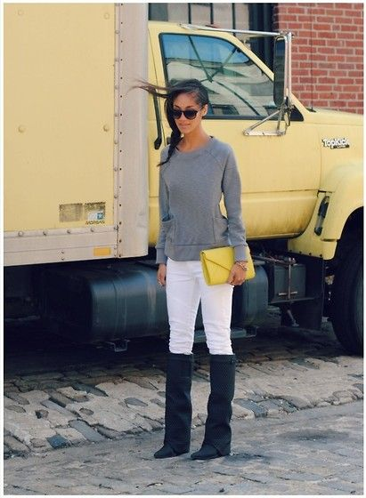 Stray Heart Shirt, Jeffrey Campbell Boots, Current Elliott Jeans, R Bag, Marc By Marc Jacobs Sunglasses