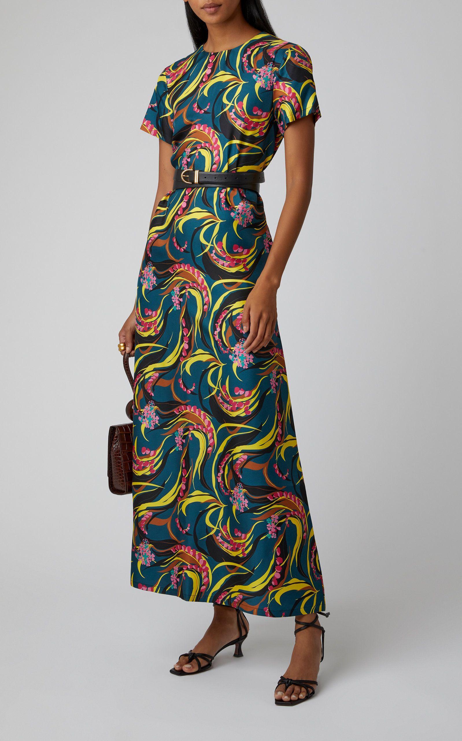 Swing Printed Silk Twill Maxi Dress By La Doublej Moda Operandi Mixed Media Dress Silk Twill Dresses
