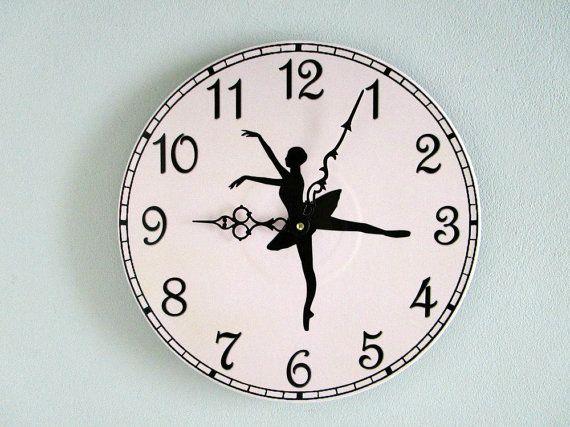 Ballerina Wall Clock Girls Room Decor Ballet Lover Gift Damask Wall Unique Wall Clocks Clock