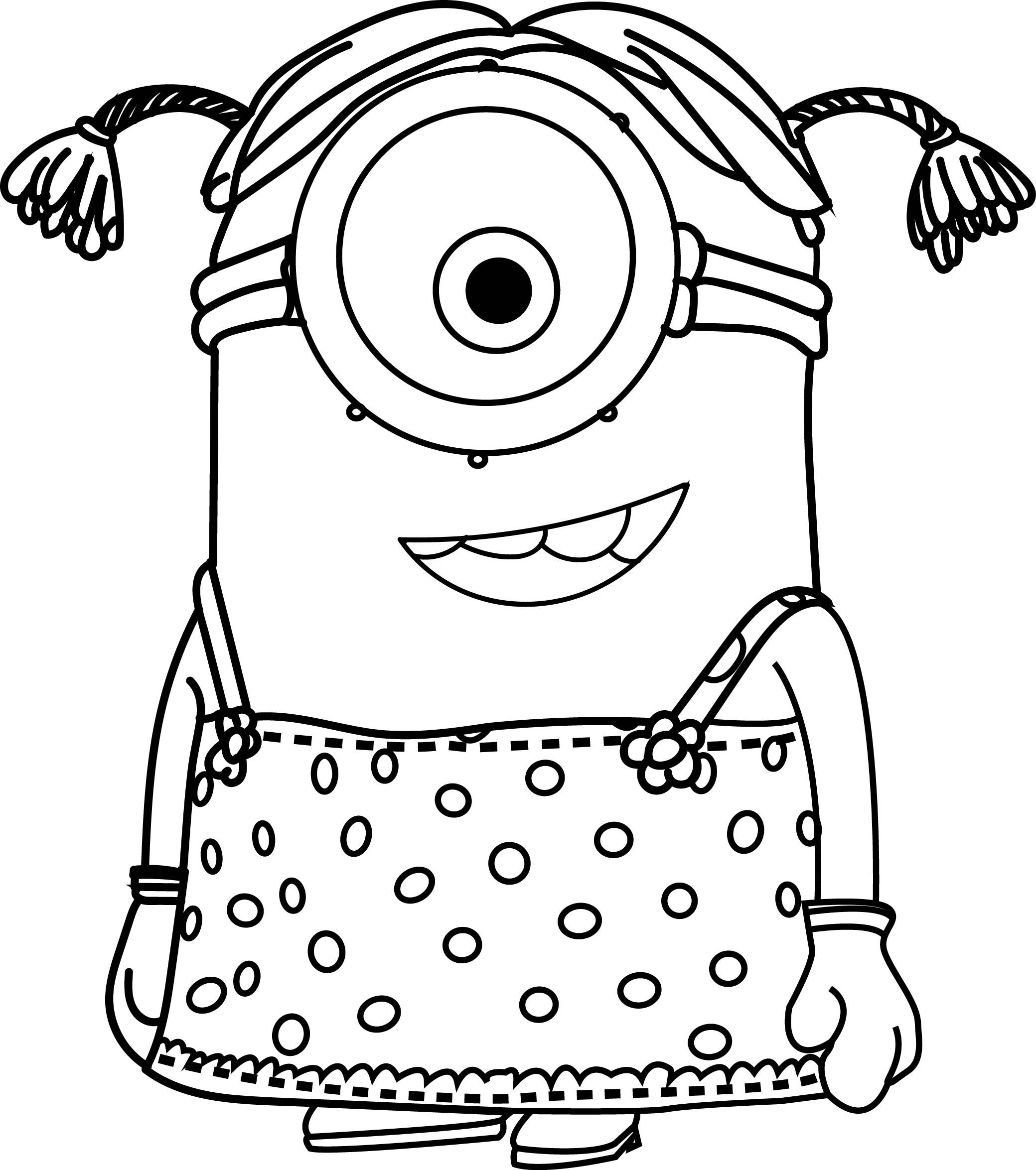 Cartoons Minions Little Girl Coloring Page Cartoons Minions Little