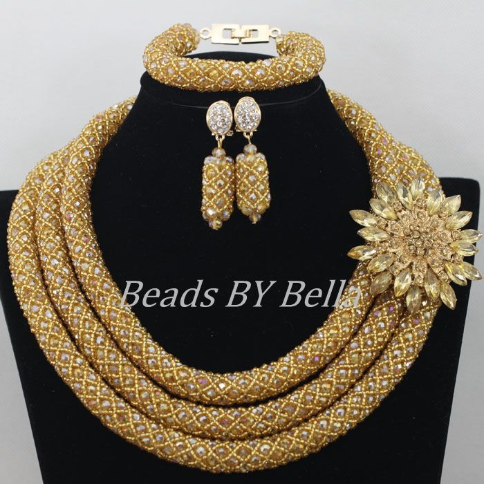 Hot Nigerian Beads Necklace Handmade Braid Beads African Jewelry ...