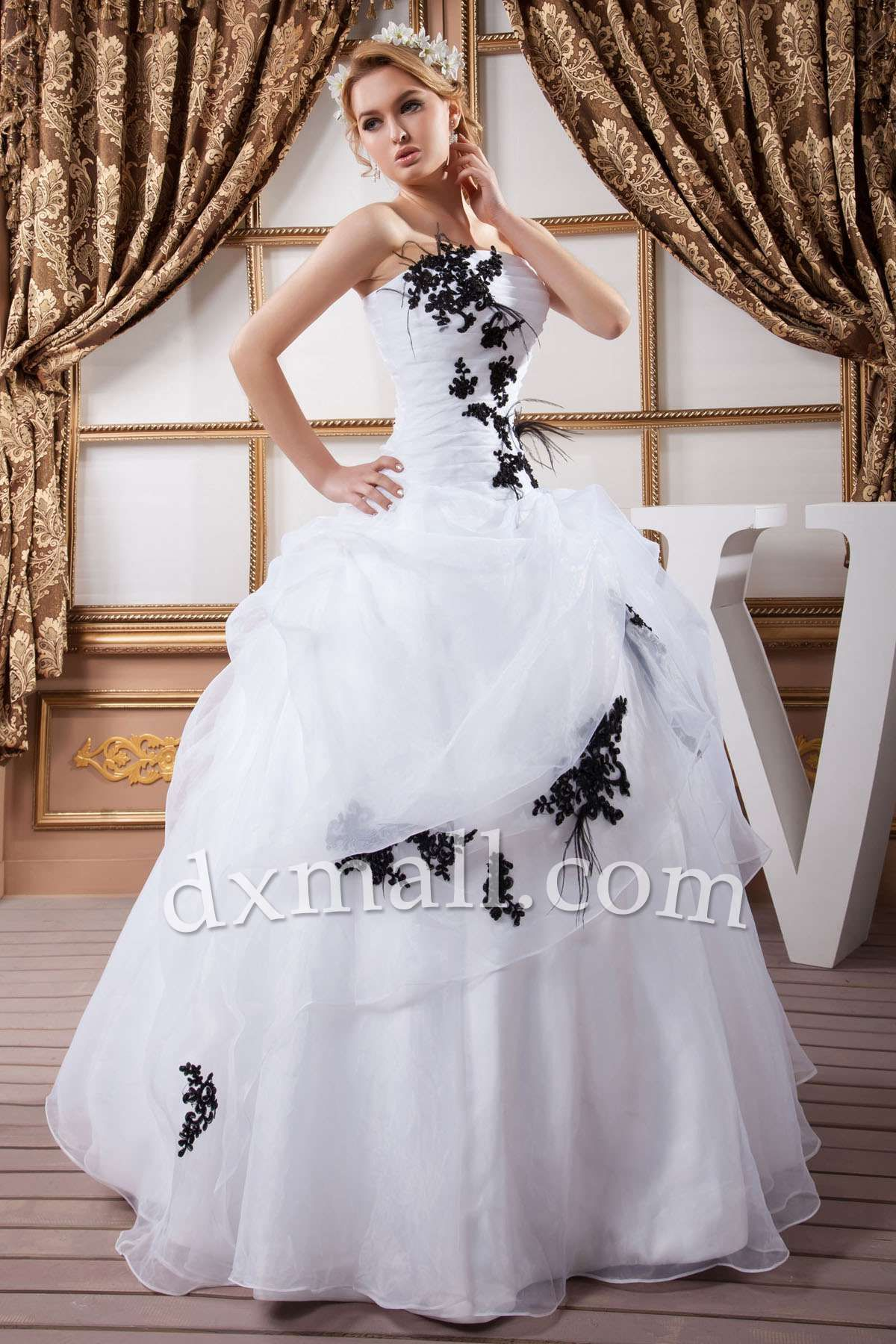 Ball gown wedding dresses strapless ankle length organza satin ivory