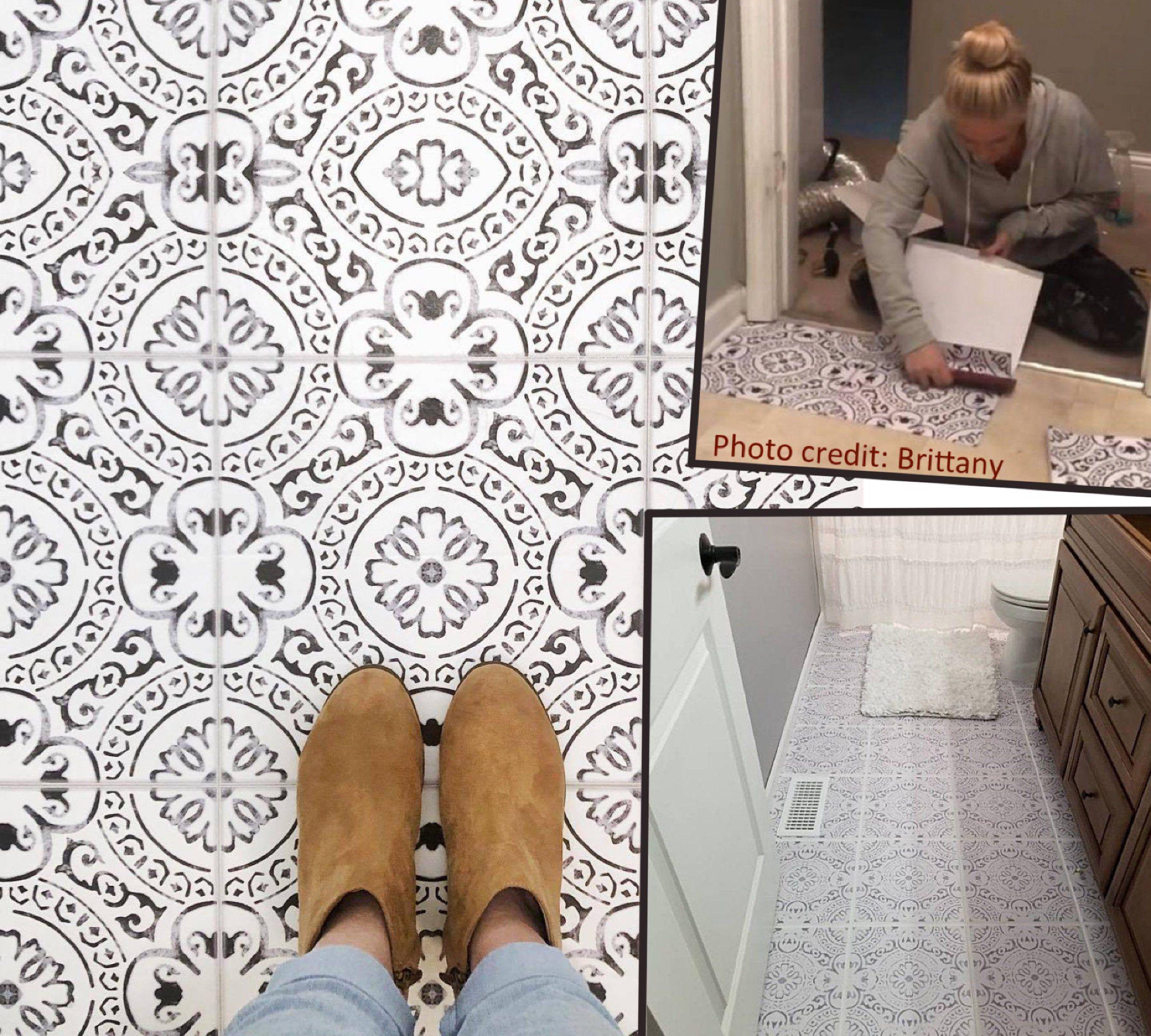 Tile Sticker Kitchen Bath Floor Wall Waterproof Removable Peel N Stick A72 Black White By Snazzydecal On E In 2020 Tiles Wall Waterproofing Tile Stickers Kitchen