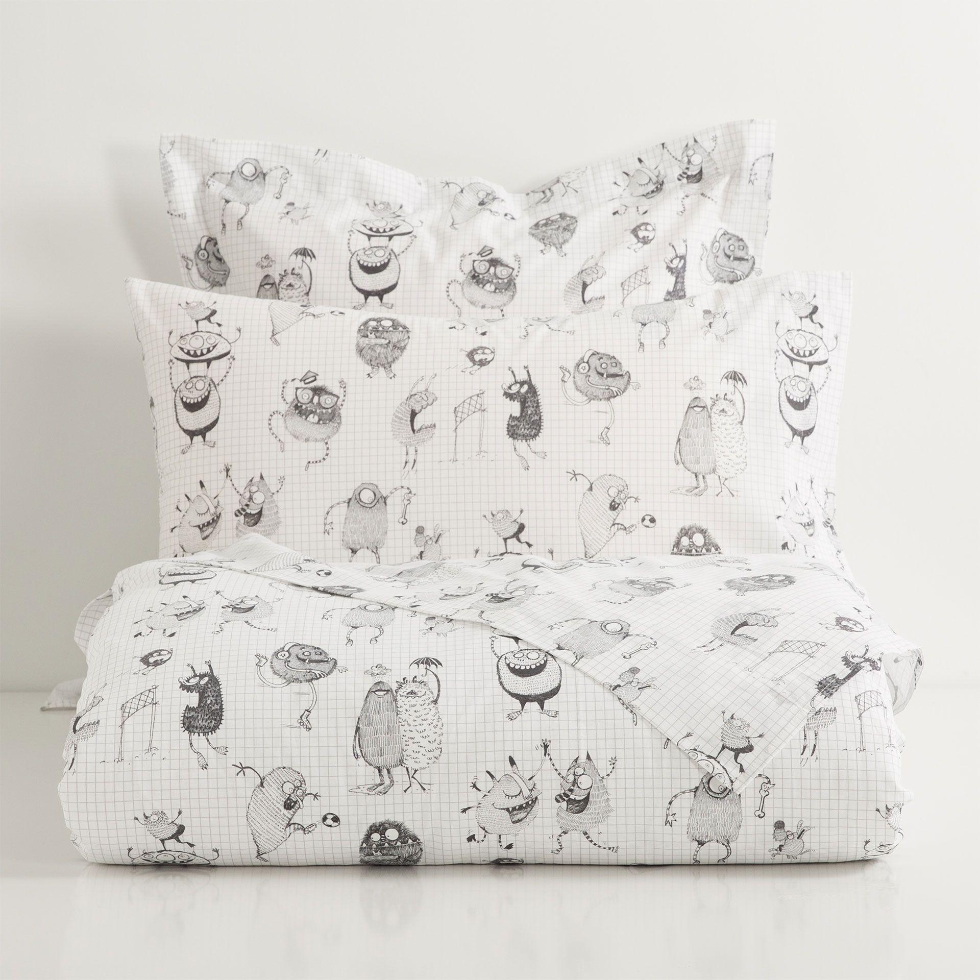 lakens en slopen met grijze monsters - lakens en hoezen - bed, Hause ideen