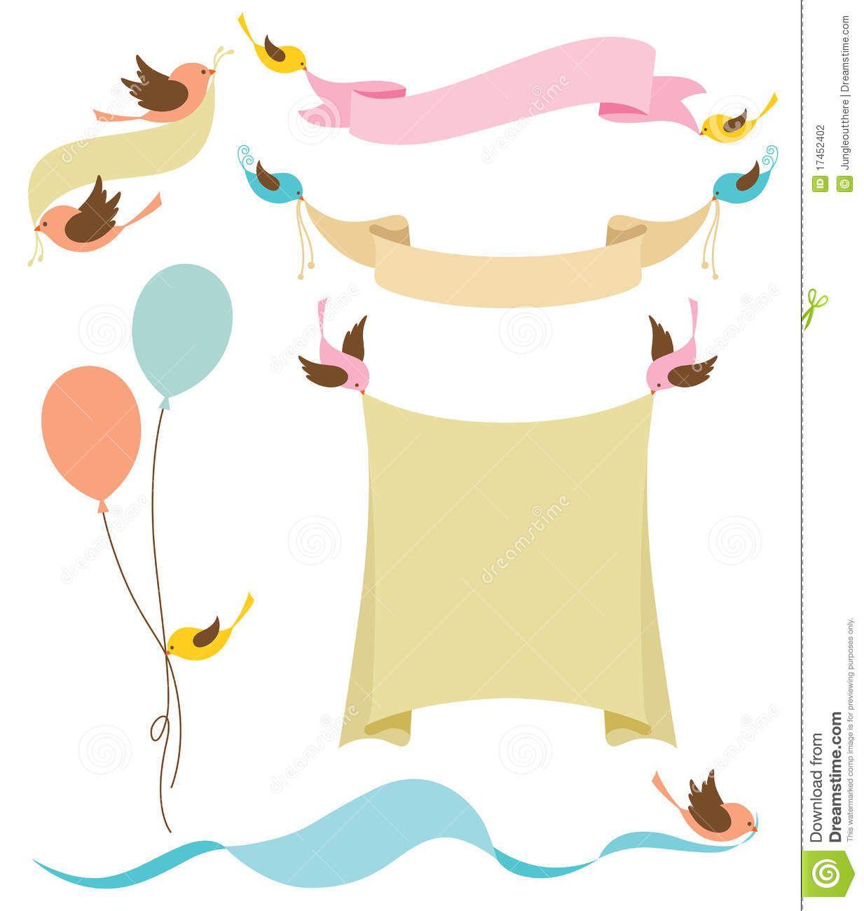 Birds Holding Banners Kate Spade Shower Illustration