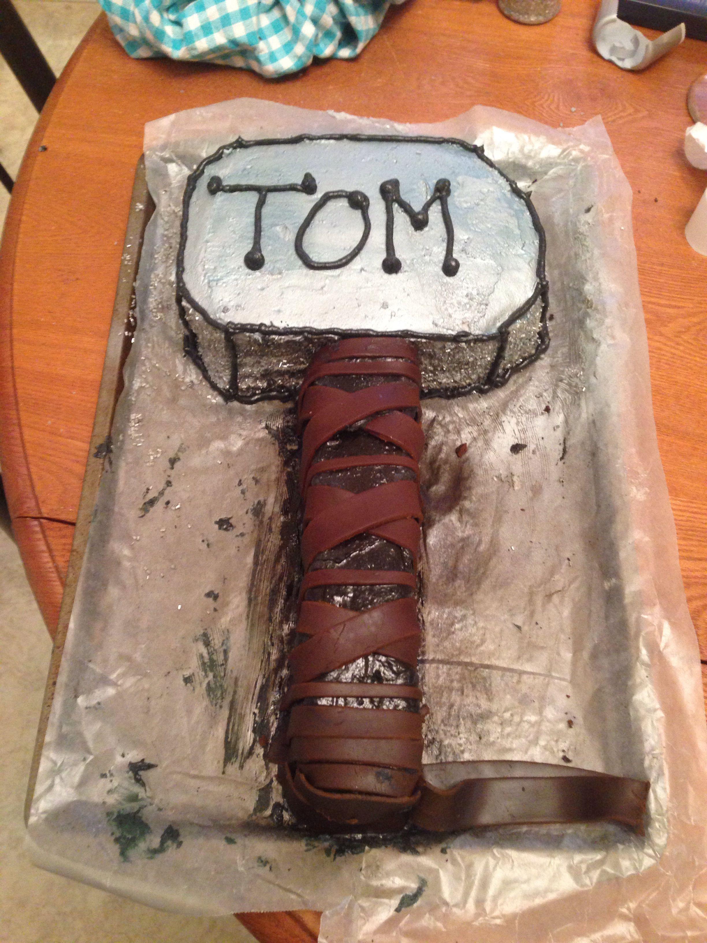 Thor hammer cake I made for my boyfriends birthday, Mjolnir cake. #thorcake #thorhammer #superherocake #birthdaycake #thormjolnir