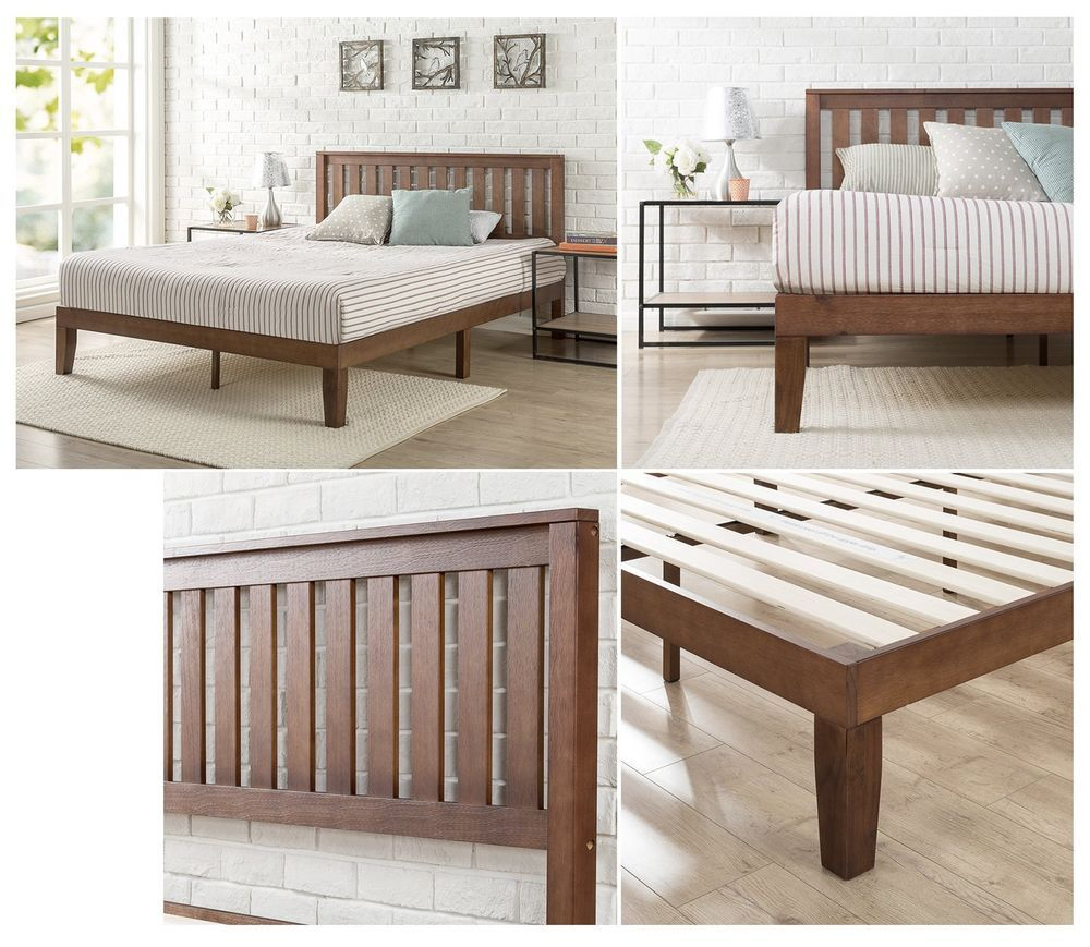 Rustic Queen Sz Platform Bed Frame Headboard Solid Wood