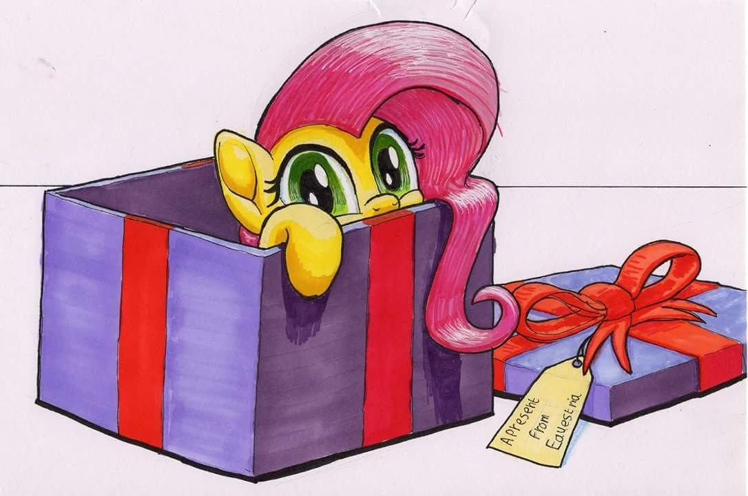 Fluttershy is in a present  :3