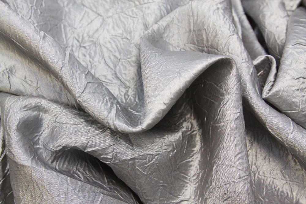 "Crushed Taffeta 90""x156"" Rectangular Tablecloth Silver"