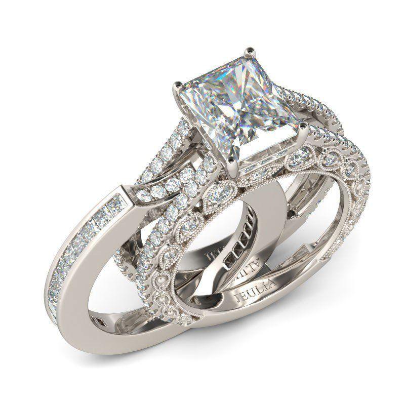 ring milgrain emerald cut created white sapphire - White Sapphire Wedding Ring Sets