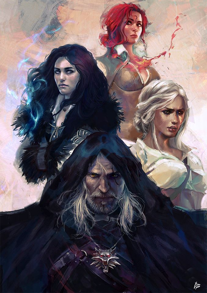 Triss, Yennefer, Ciri and Geralt | Games | Witcher art, The