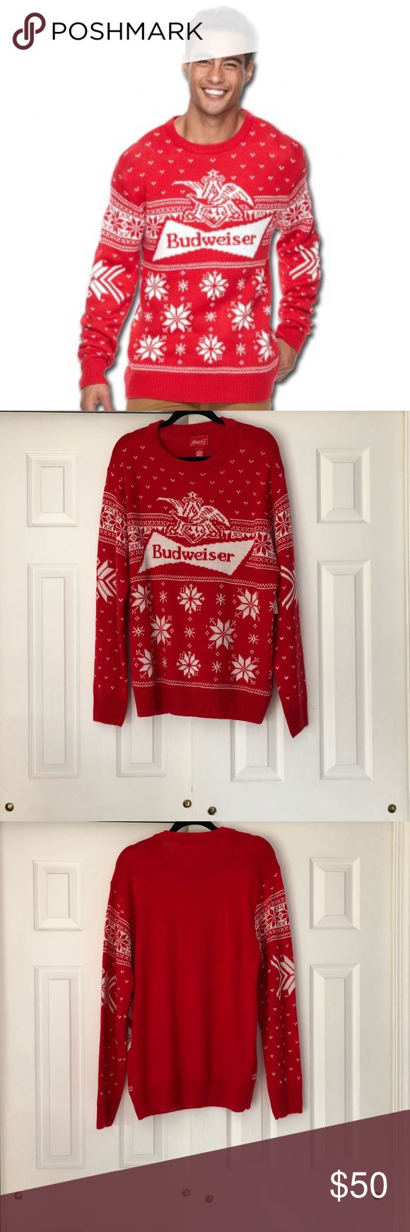 budweiser ugly christmas sweater sz large budweiser ugly christmas sweater in mens size large red and white 100 acrylic budweiser logo and winter