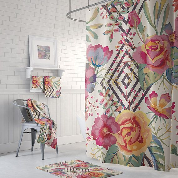 Beautiful vintage style floral shower curtain | Shower Curtains ...