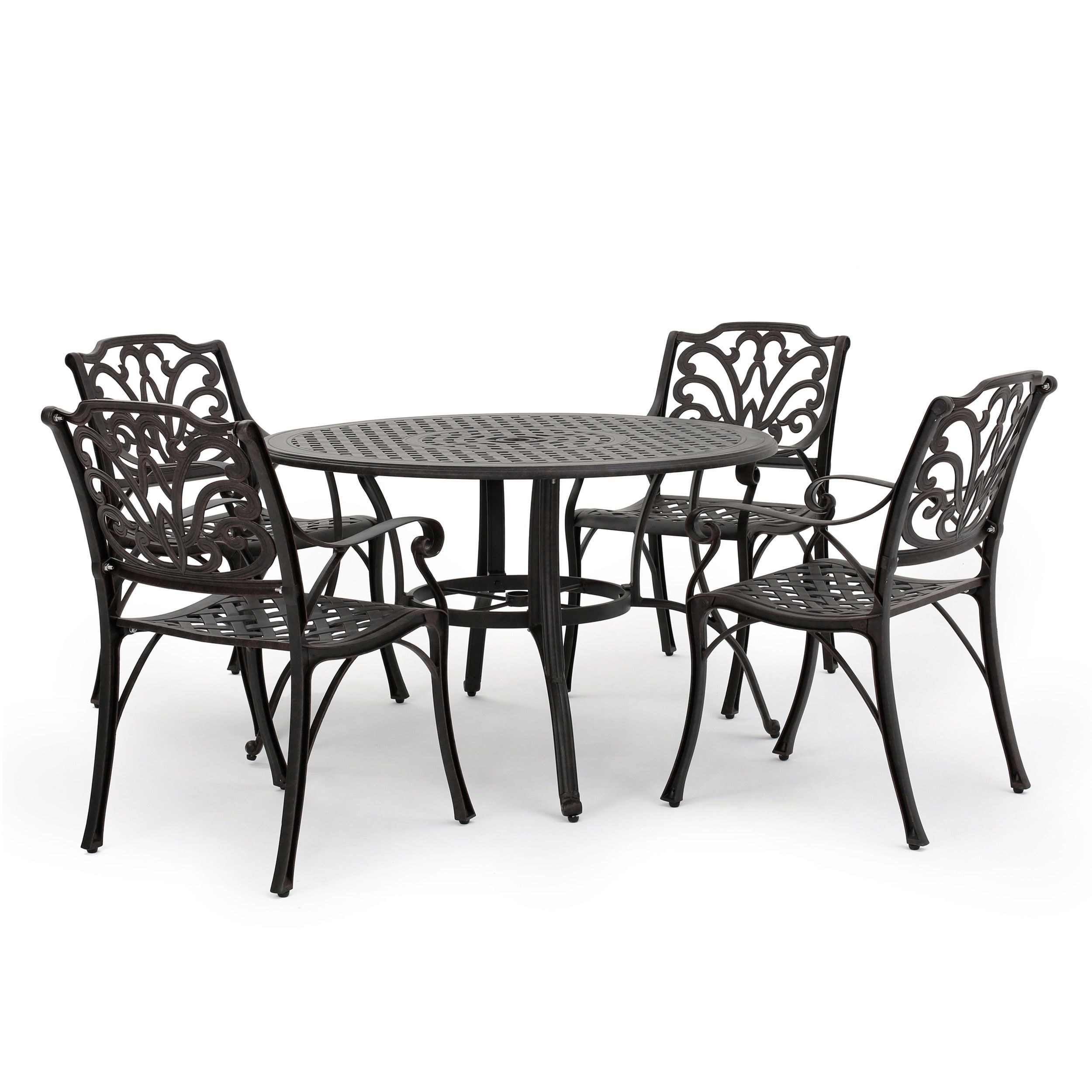 Alfresco Outdoor 5 Piece Cast Aluminum Circular Dining Set By Christopher  Knight Home (Bronze