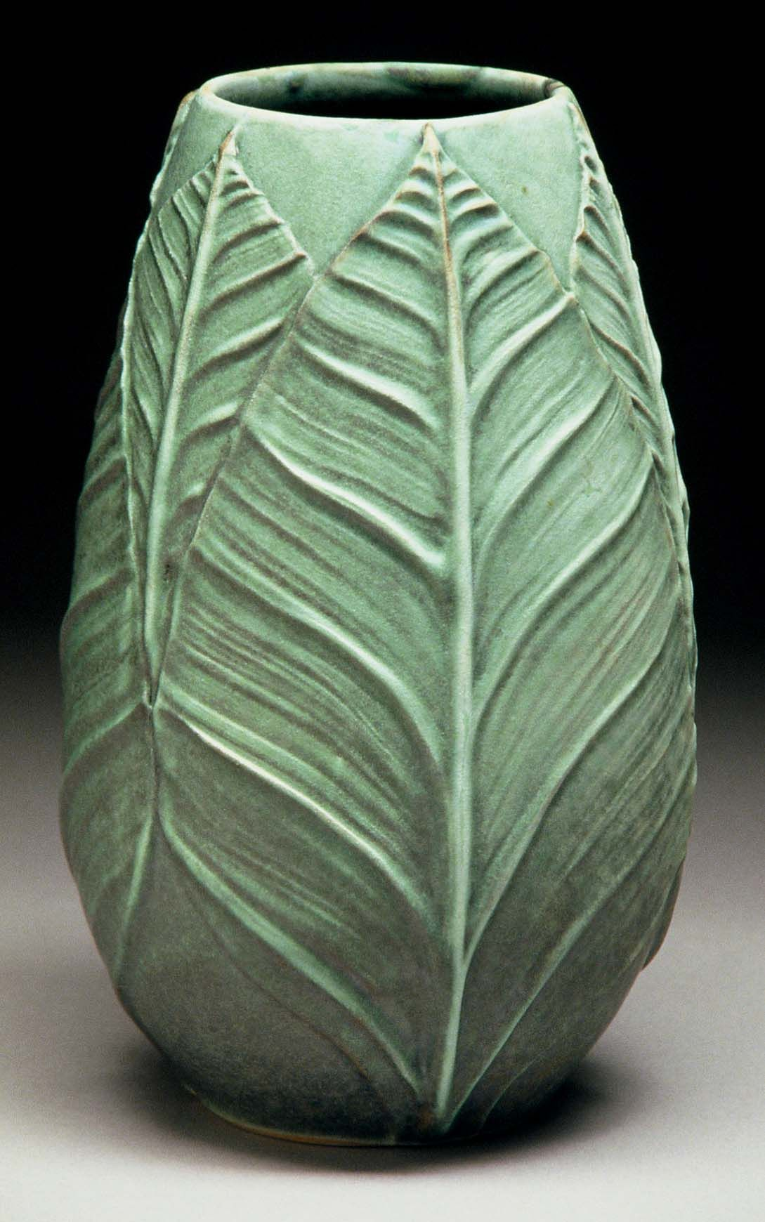 richard vincent pottery slip design brush on leaf pattern