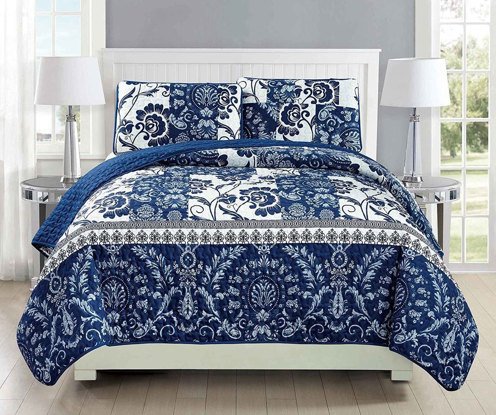 Fancy Linen Over Sized Quilt Bedspread Floral Navy Blue White All Sizes New White Bedspreads Bed Linens Luxury Blue Quilt Bedding