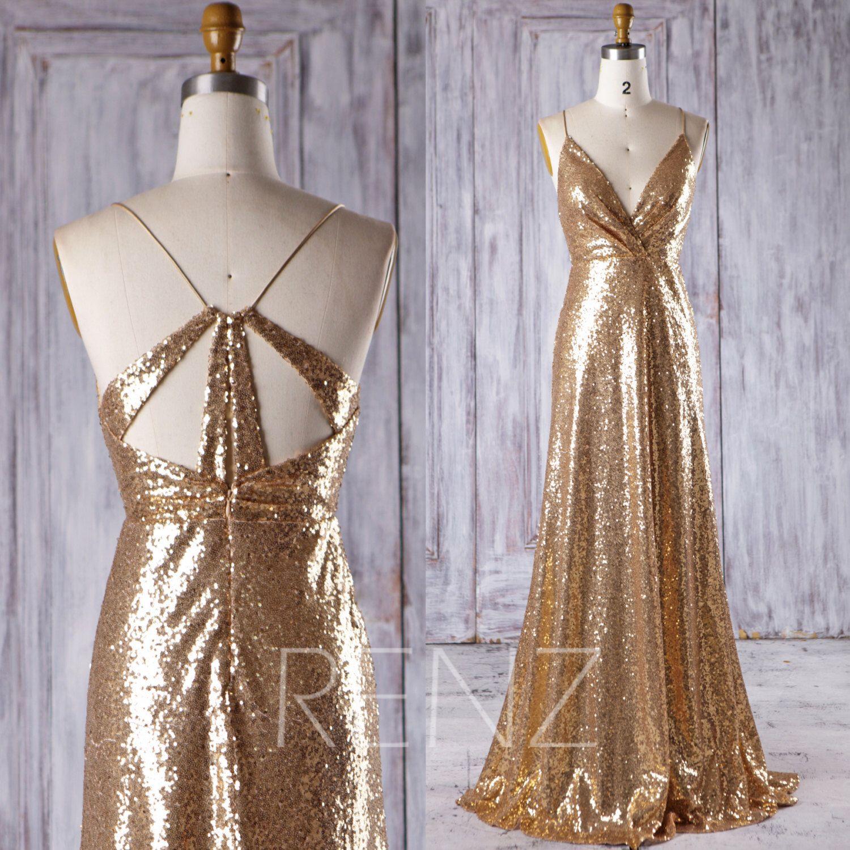 Gold sparkle wedding dress   Gold Sequin Bridesmaid Dress Sexy V Neck Wedding Dress