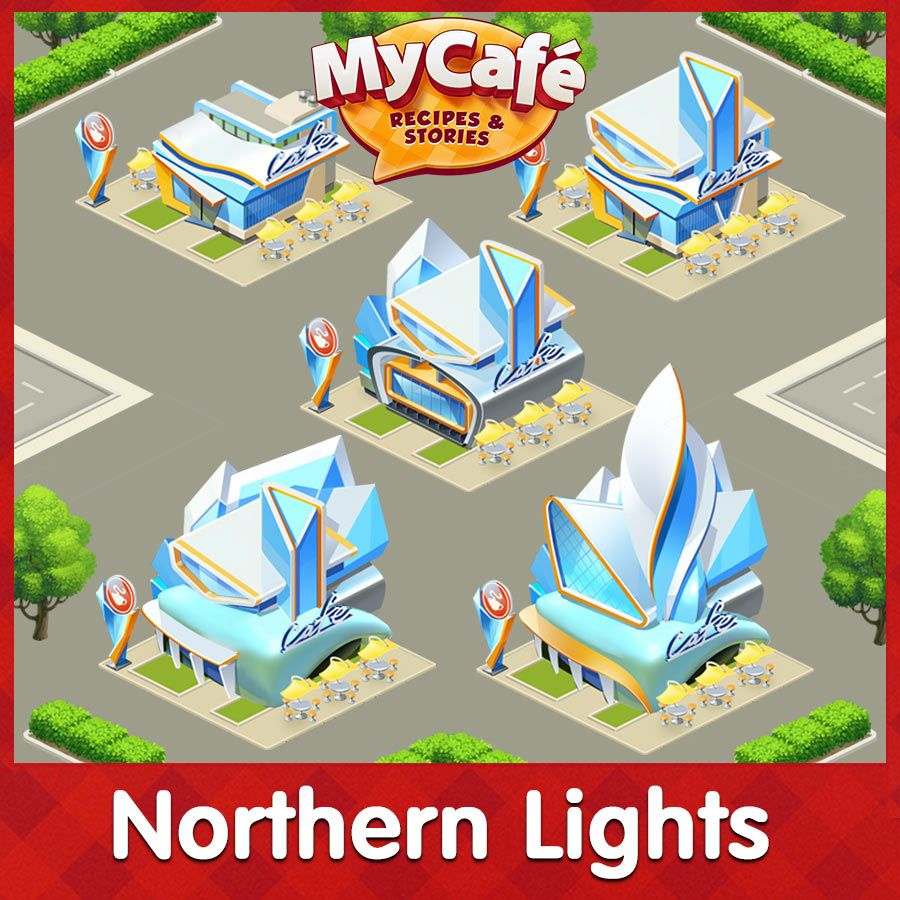 Northern Lights Township Structures Level 1 5 Mycafe Mycafegame Northern Lights Art Northern Lights Painting Cafe