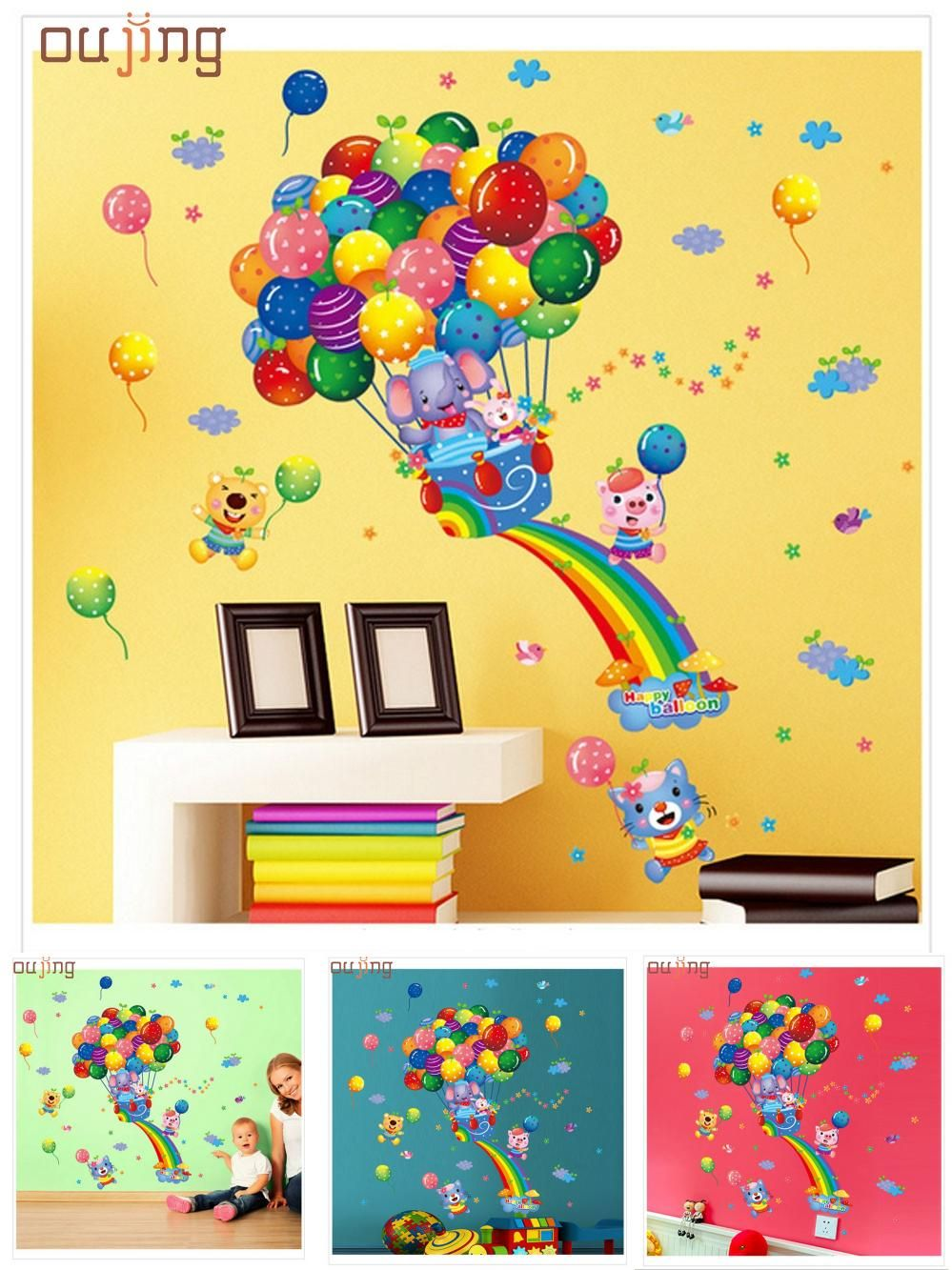 Visit to Buy] Fashion Heaven Hot Air Balloon Cartoon Children Wall ...