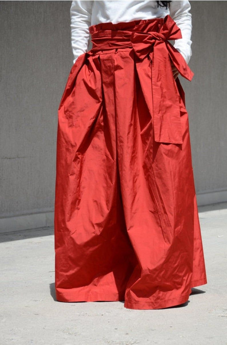 Photo of Extravagant High Fashion Cocktail Skirt with High Wast, Evening Long Red Skirt with Pockets, Floor Length Bohemian Maxi Skirt, Style Skirt