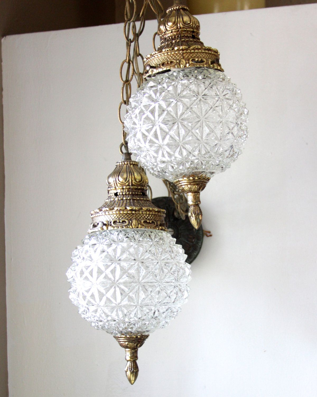 Vintage Glass Round Globe Double Globe Swag Lighting Clear Glass