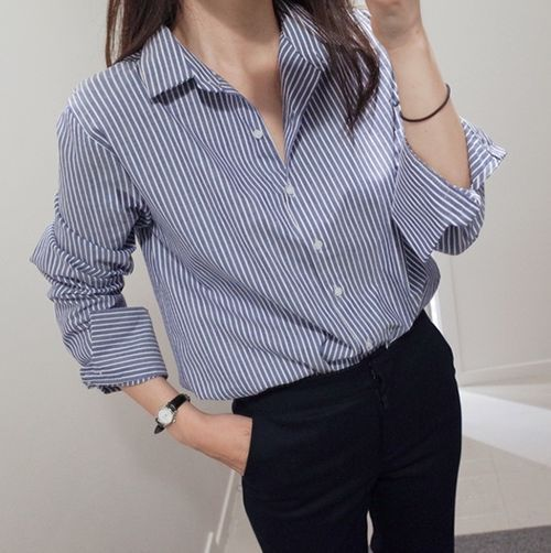 e907ed0d3 Korean Fashion Women Cotton Linen Casual Striped Button Down Shirt Blouse  Tops