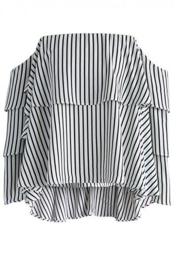 36978248ae0267 Black   White Stripe Off the Shoulder Top