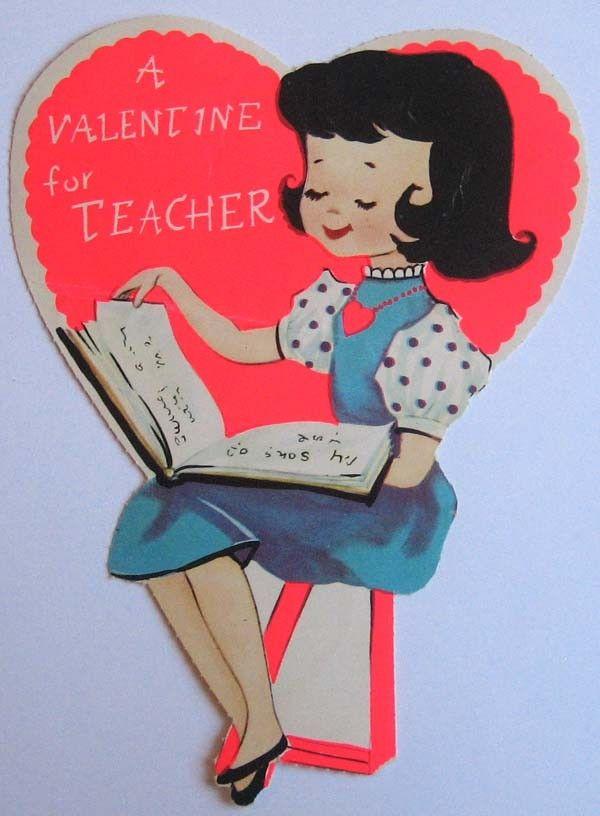 Vintage Valentine Card A Valentine For Teacher Valentines