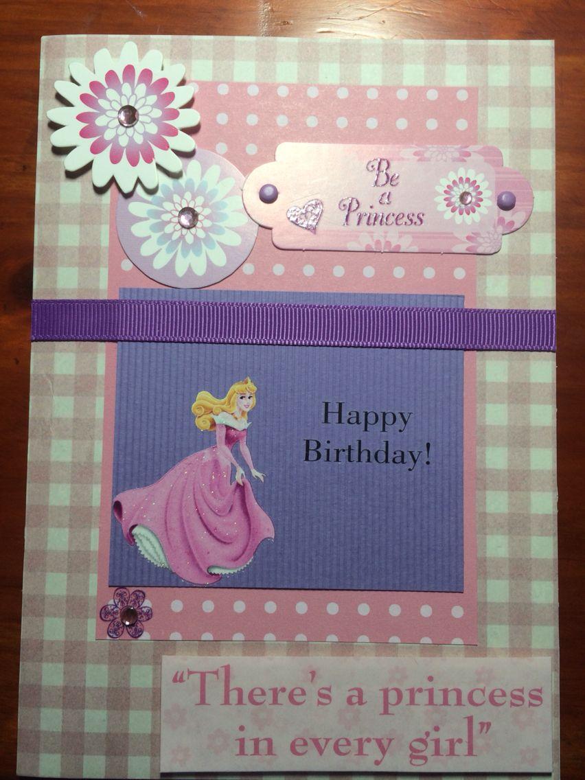 handmade birthday card girl princess pink purple