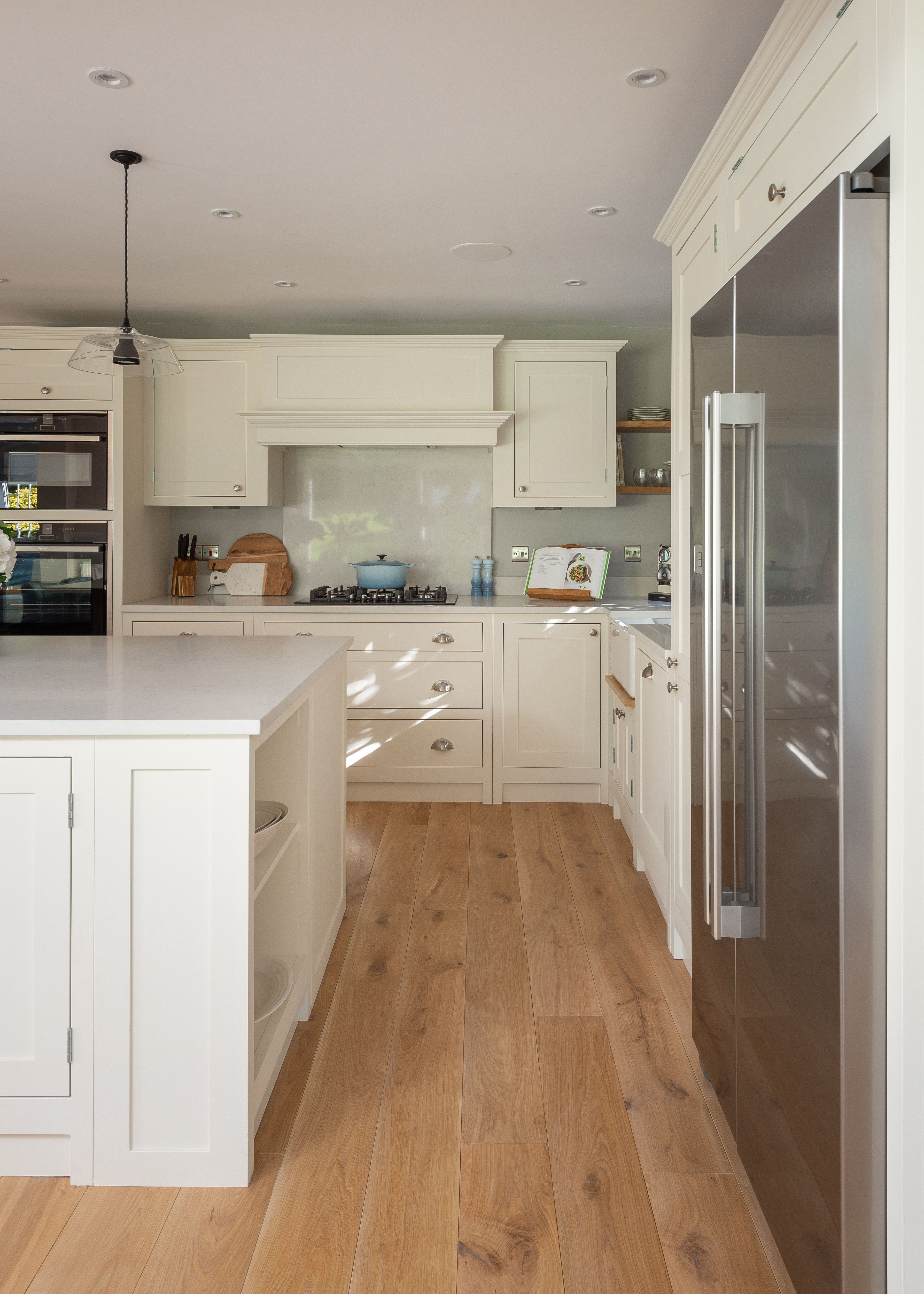 Shaker Kitchen Featuring A Mantle Painted In Cream Shaker Style