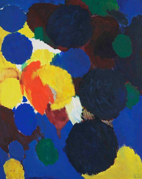 Ernst Wilhelm Nay, Ultramarine and Yellow, 1960, Oil on canvas, 162 x 130 cm Bayerische Staatsgemäldesammlungen