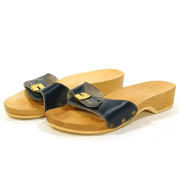 Dr Scholl S Wooden Clog Sandals In Navy Blue Vintage