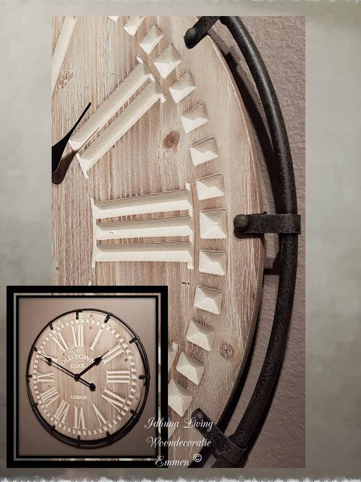 Hedendaags Grote wandklok industrieel-landelijk van hout en metaal Ø 60cm KQ-16