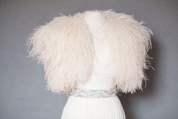 33c34126486 Ostrich Feather Shrug Jacket As Seen in Martha Stewart Weddings in ...