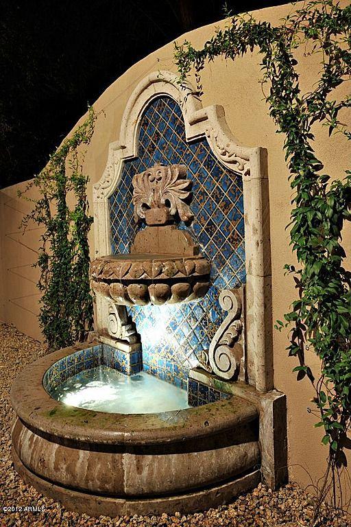 Fountain mediterranean style pinterest terraza jardin fuente de pared y patio y jardin - Fuente terraza ...