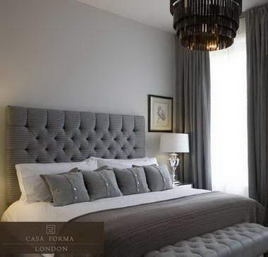 Gray Bedroom gray tufted headboard + modern chandelier | gray bedroom