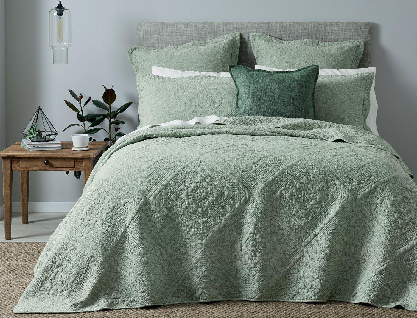 Asher Coverlet Sage Green Sage Green Bedroom Sage Bedding Bed Spreads