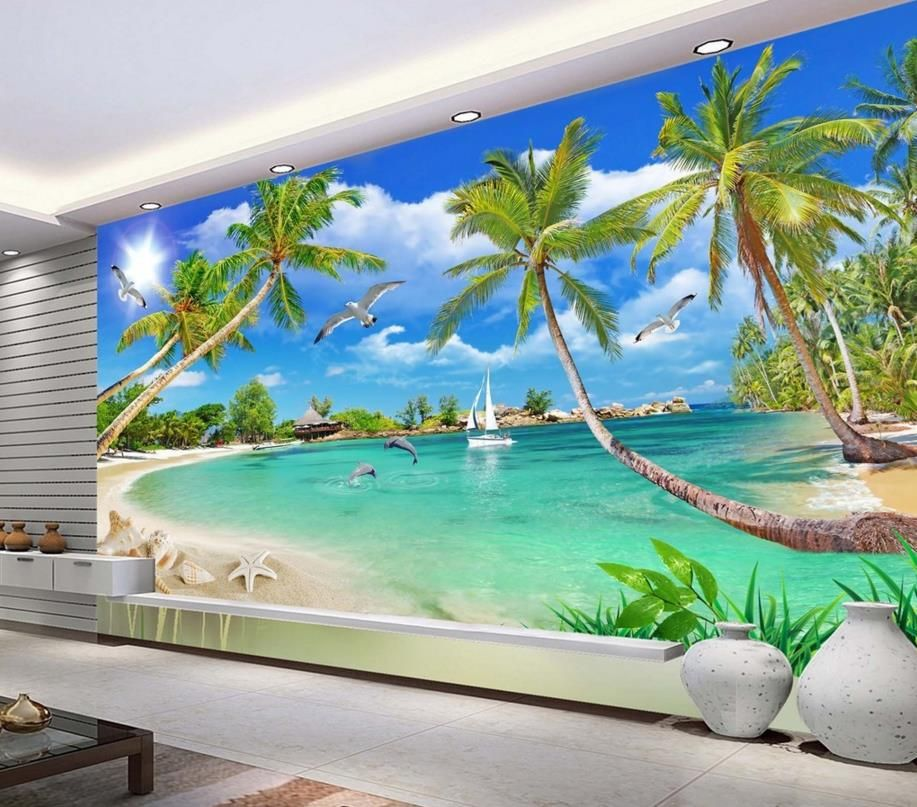 Modern Mediterranean Palm Wallpaper Murals Photo Wall Murals 3d Wallpaper Living Room Tv Backdrop Walpaper Beach Wall Murals Palm Wallpaper Mural Wallpaper