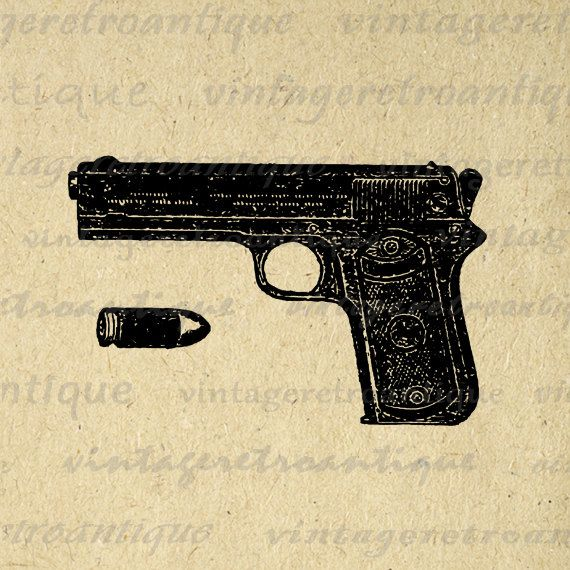 Gun and Bullet Image Printable Graphic Pistol Download Handgun ...
