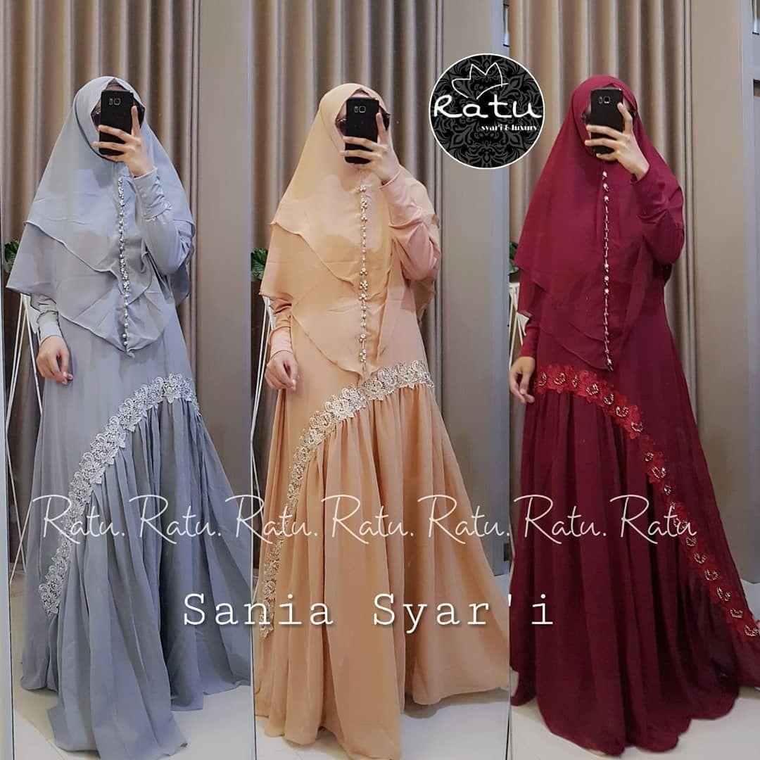 Sania syari set ( dress+hijab) ORI BRAND RATU . Free POS Jakarta