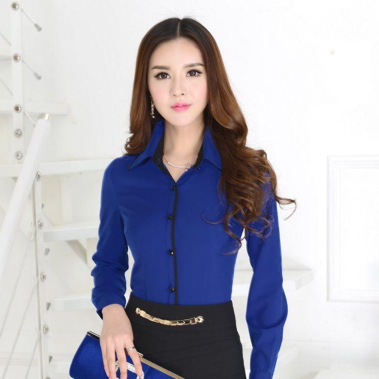 159aad9e85e359 New 2015 Spring Fashion Ladies Office Uniform Shirts Formal Blue Shirts  Women Work Blouses Long Sleeve Camisas Femininas(China (Mainland))