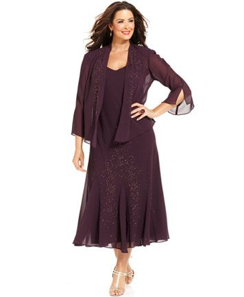 R&M Richards Plus Size Beaded V-Neck Dress and Jacket | macys.com ...
