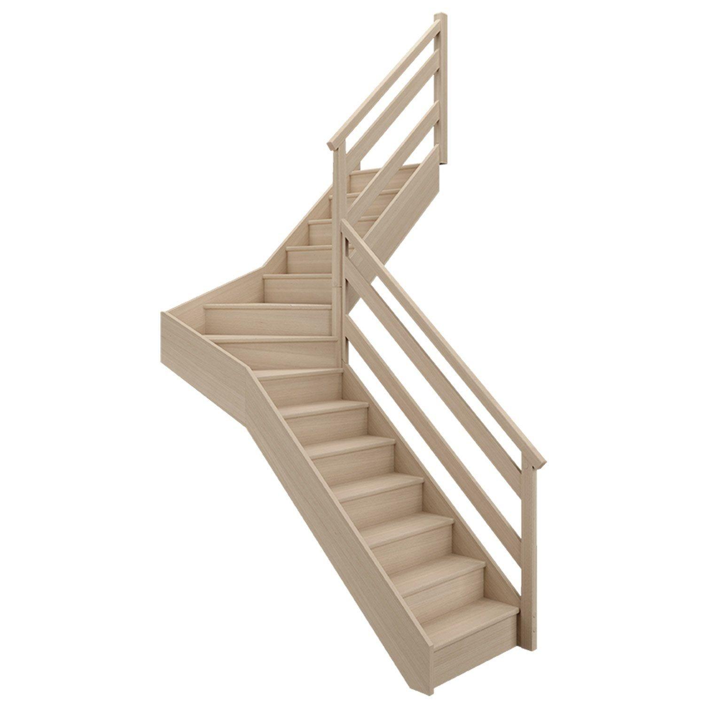 Escalier 1 4 Tournant Milieu Droit Bois Hetre Soft Wood 14 Marches