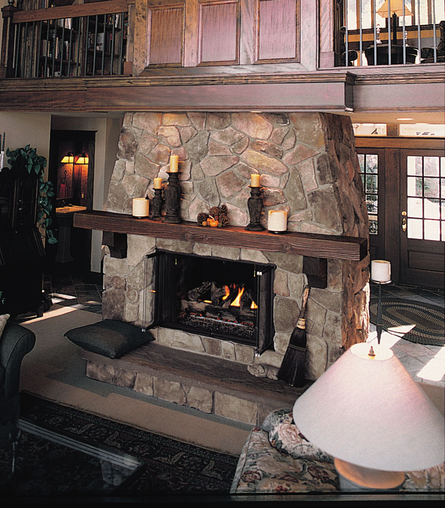 Fireplace bucks county dressed fieldstone cultured for Field stone fireplace