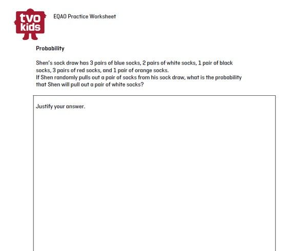 EQAO Practice Worksheet Grade 6 Math Probability EQAO