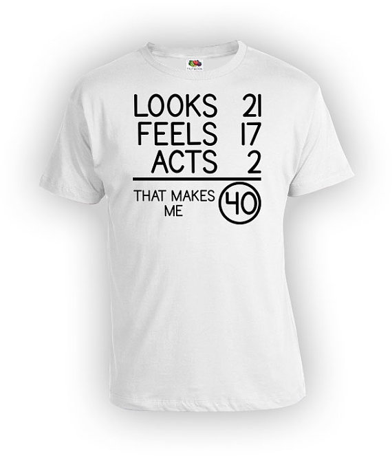 40th Birthday T Shirt Gift For Men Bday Present Looks 21 Feels 17 Acts 2 That Makes M