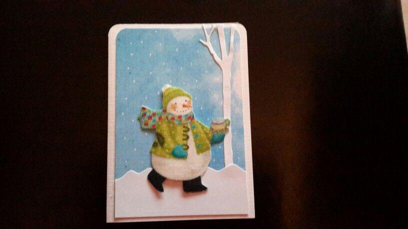 Weihnachtskarte schneemann aus stoff