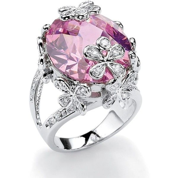 Palm Beach Jewelry PalmBeach 21.42 TCW Oval-Cut Pink Cubic Zirconia... ($32) ❤ liked on Polyvore featuring jewelry, rings, pink, pink cz ring, long rings, round cut rings, pear ring and cubic zirconia rings